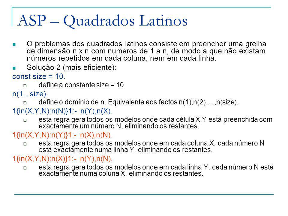 ASP – Quadrados Latinos O problemas dos quadrados latinos consiste em preencher uma grelha de dimensão n x n com números de 1 a n, de modo a que não existam números repetidos em cada coluna, nem em cada linha.
