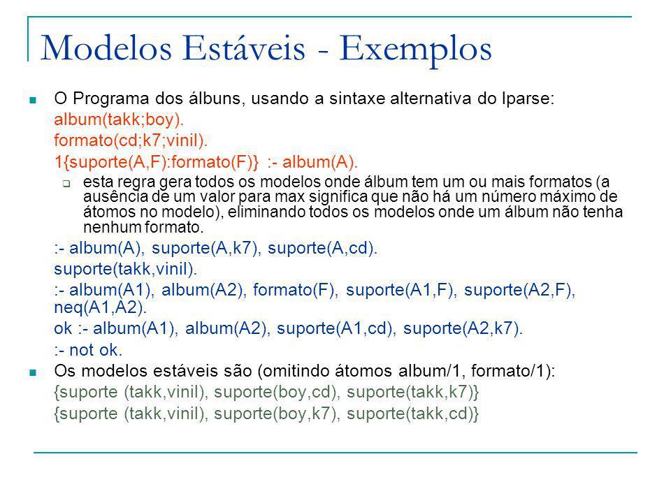 Modelos Estáveis - Exemplos O Programa dos álbuns, usando a sintaxe alternativa do lparse: album(takk;boy).