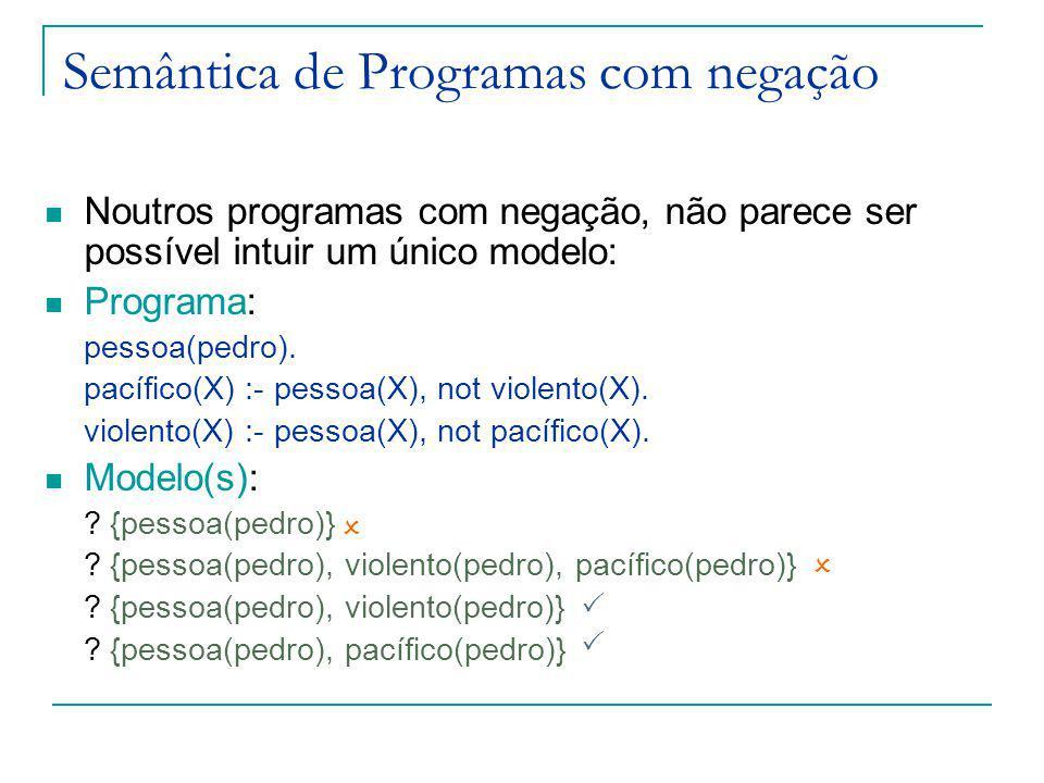 Semântica de Programas com negação Noutros programas com negação, não parece ser possível intuir um único modelo: Programa: pessoa(pedro).