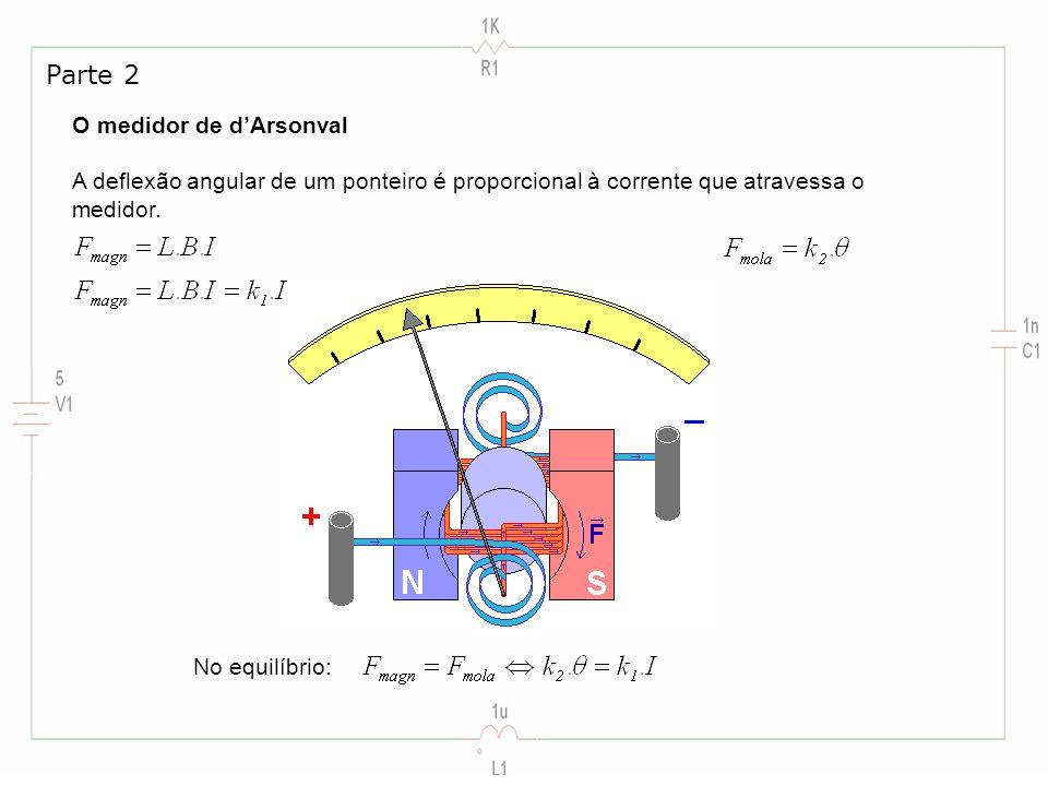 O medidor de dArsonval A deflexão angular de um ponteiro é proporcional à corrente que atravessa o medidor. Parte 2 No equilíbrio: