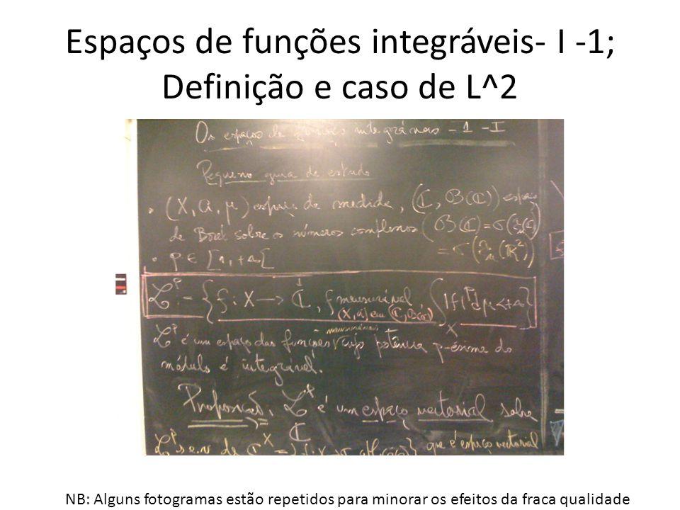 Espaços de funções integráveis- I -1; Definição e caso de L^2 NB: Alguns fotogramas estão repetidos para minorar os efeitos da fraca qualidade
