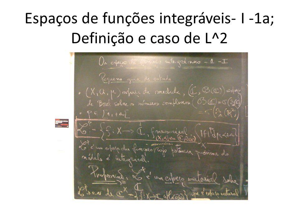 Espaços de funções integráveis- I -1a; Definição e caso de L^2