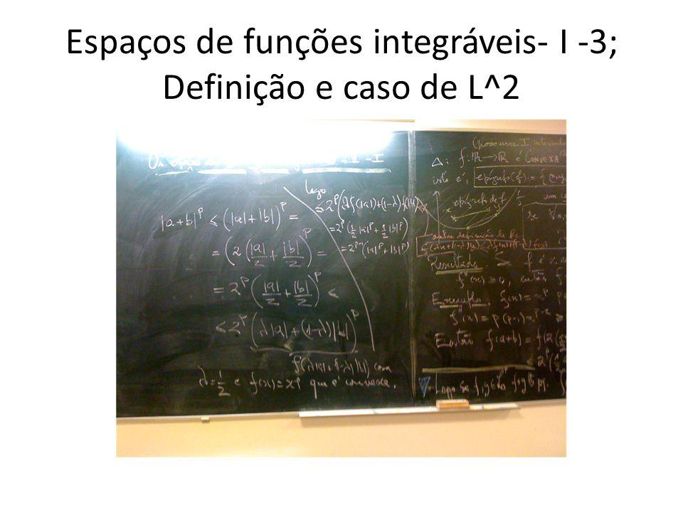 Espaços de funções integráveis- I -3; Definição e caso de L^2