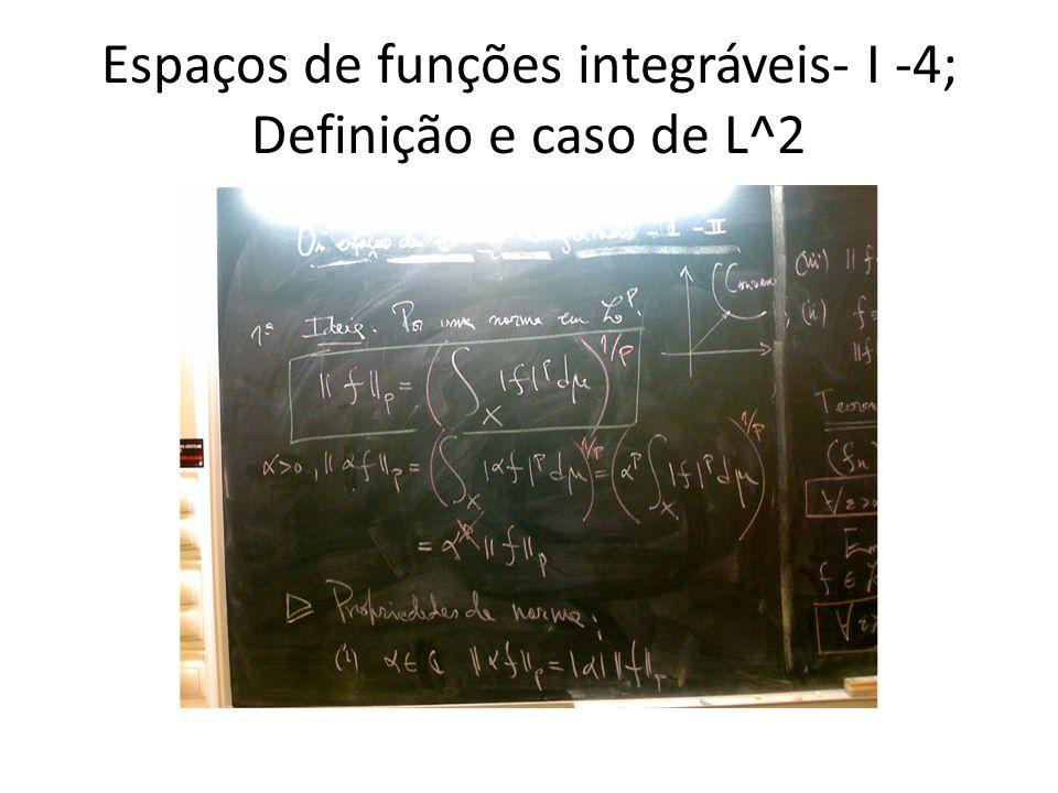 Espaços de funções integráveis- I -4; Definição e caso de L^2