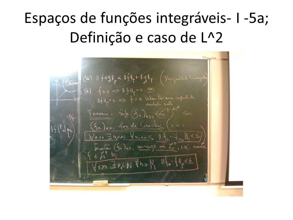 Espaços de funções integráveis- I -5a; Definição e caso de L^2