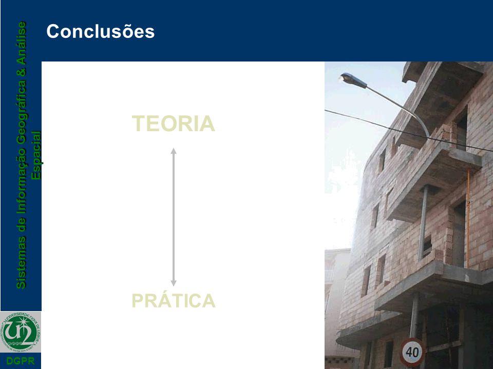 Sistemas de Informação Geográfica & Análise Espacial DGPR Conclusões TEORIA PRÁTICA