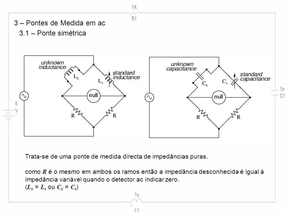 3 – Pontes de Medida em ac 3.1 – Ponte simétrica Trata-se de uma ponte de medida directa de impedâncias puras. como R é o mesmo em ambos os ramos entã