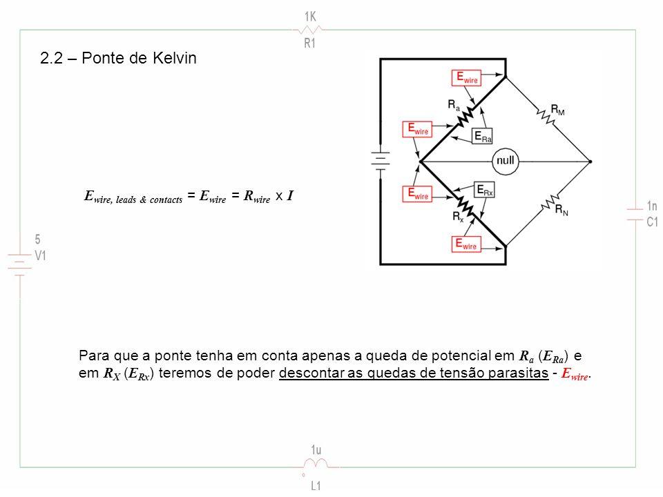 2.2 – Ponte de Kelvin E wire, leads & contacts = E wire = R wire x I Para que a ponte tenha em conta apenas a queda de potencial em R a ( E Ra ) e em