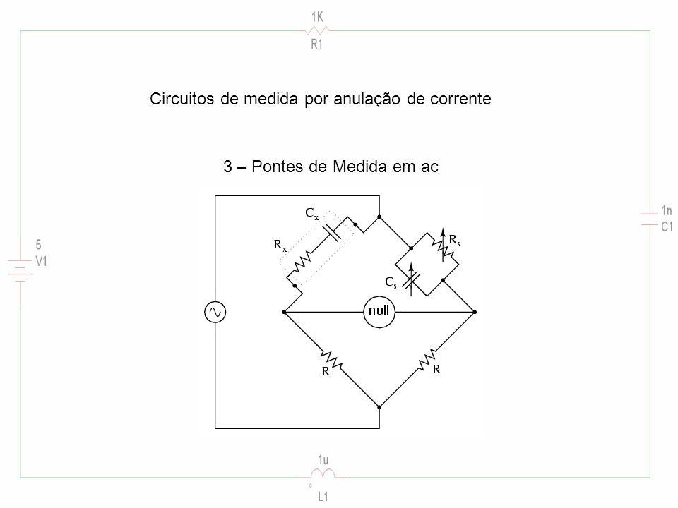 Circuitos de medida por anulação de corrente 3 – Pontes de Medida em ac