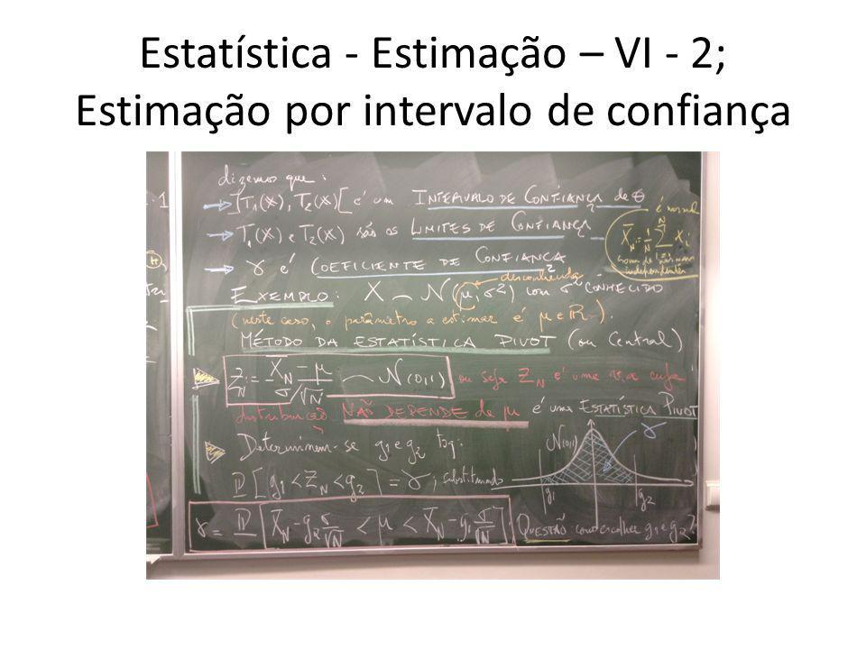 Estatística - Estimação – VI - 2; Estimação por intervalo de confiança