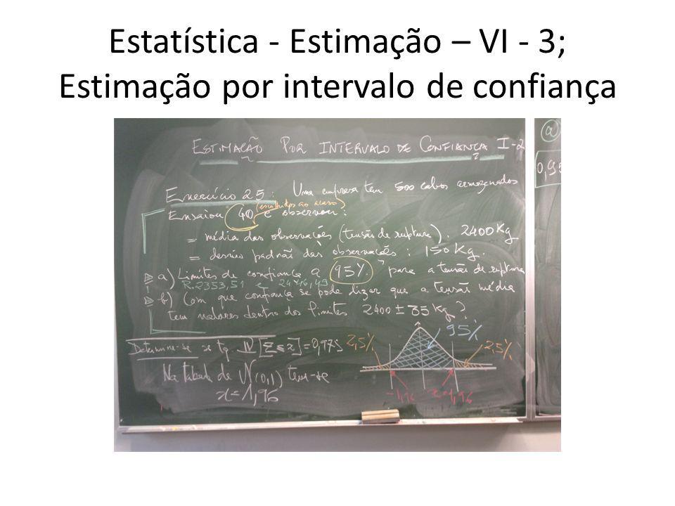 Estatística - Estimação – VI - 3; Estimação por intervalo de confiança