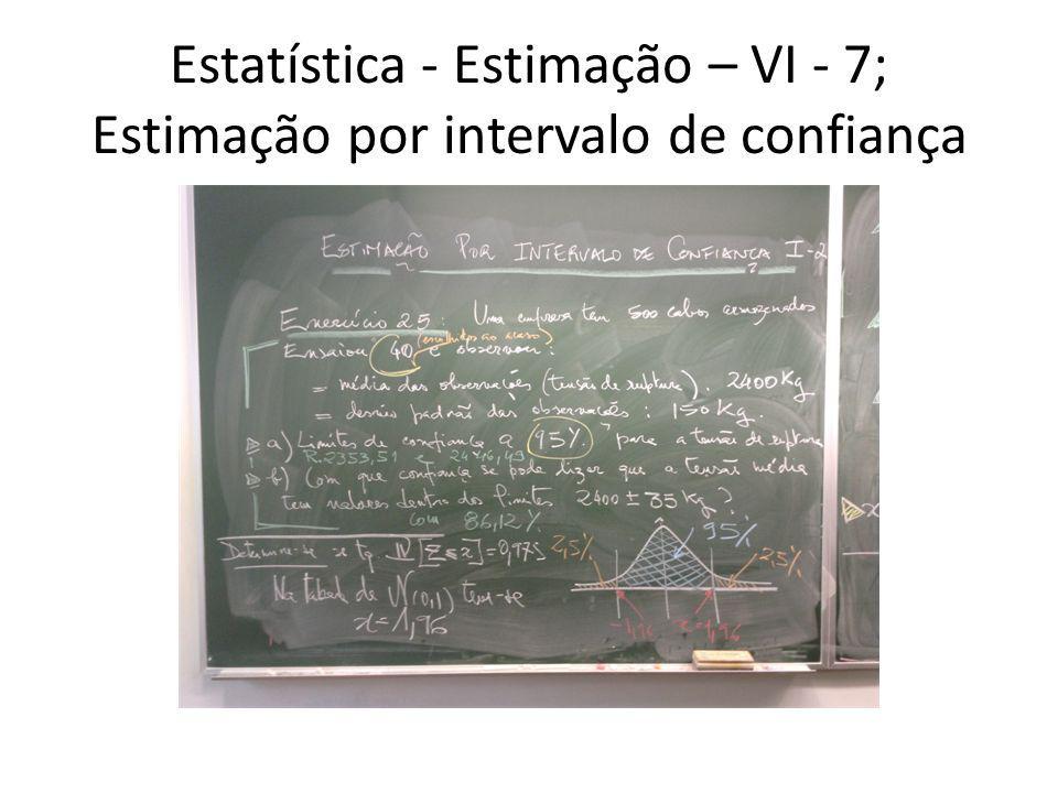 Estatística - Estimação – VI - 7; Estimação por intervalo de confiança