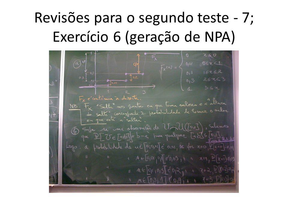 Revisões para o segundo teste - 7; Exercício 6 (geração de NPA)