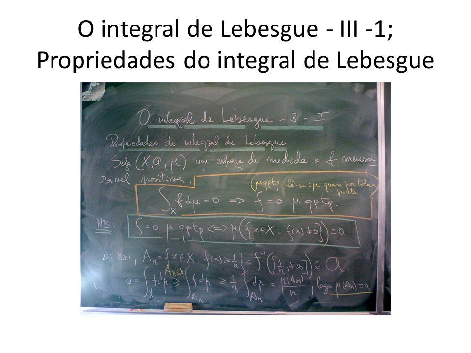 O integral de Lebesgue - III -1; Propriedades do integral de Lebesgue