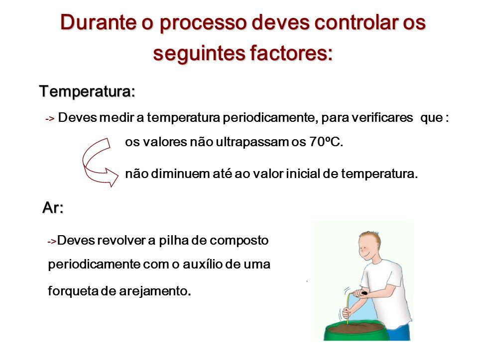 Durante o processo deves controlar os seguintes factores: Temperatura: Temperatura: -> Deves medir a temperatura periodicamente, para verificares que