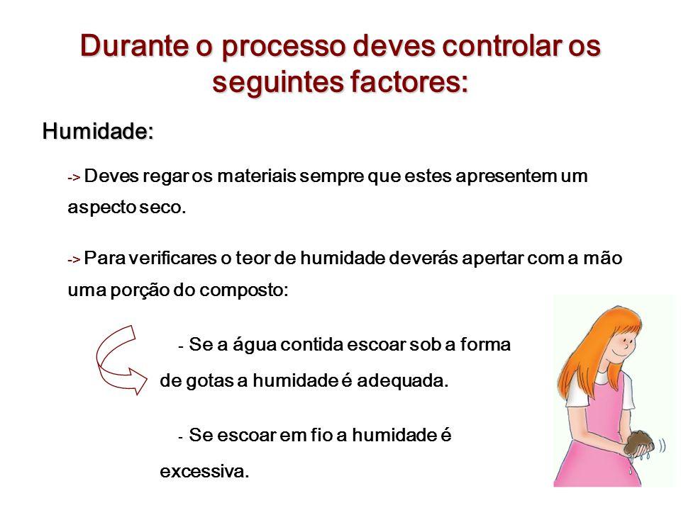 Durante o processo deves controlar os seguintes factores: Humidade: -> Deves regar os materiais sempre que estes apresentem um aspecto seco. -> Para v