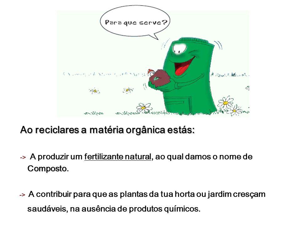 Ao reciclares a matéria orgânica estás: Composto -> A produzir um fertilizante natural, ao qual damos o nome de Composto. -> A contribuir para que as