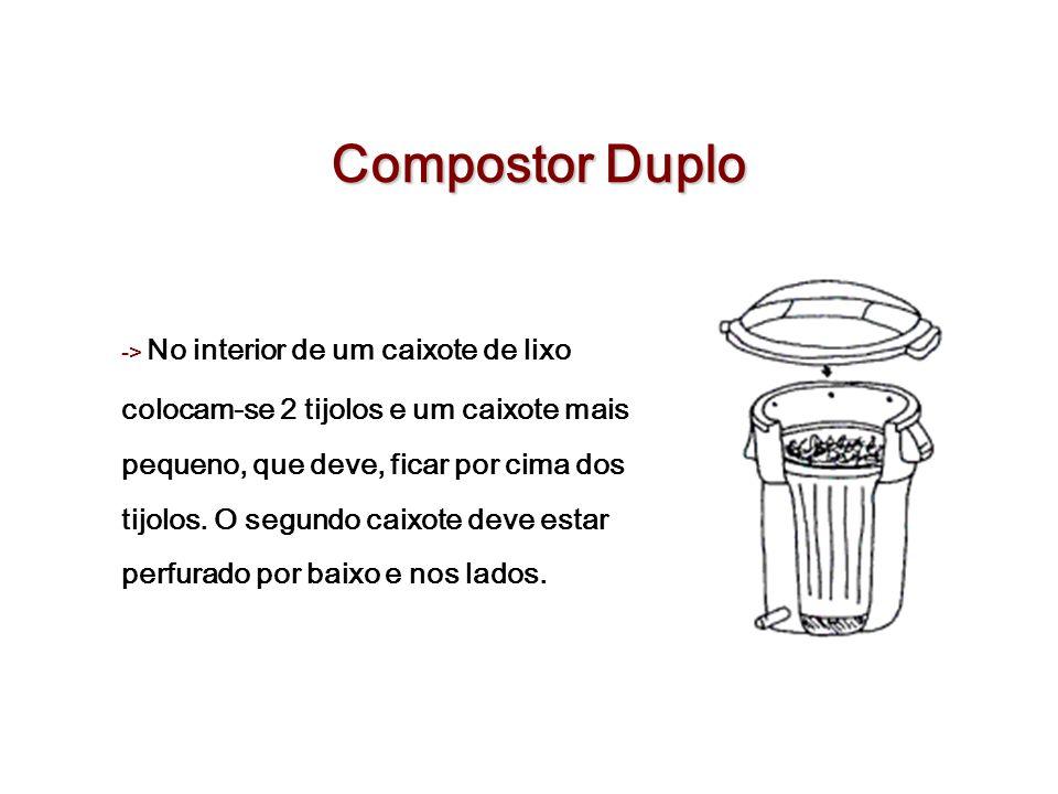 Compostor Duplo -> No interior de um caixote de lixo colocam-se 2 tijolos e um caixote mais pequeno, que deve, ficar por cima dos tijolos. O segundo c
