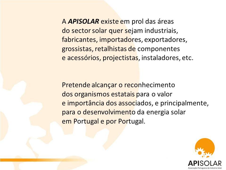 Podem fazer parte da Associação Portuguesa da Indústria Solar todas as pessoas singulares ou colectivas que tenham como uma das suas áreas de actividade a energia solar térmica e/ou fotovoltaica.