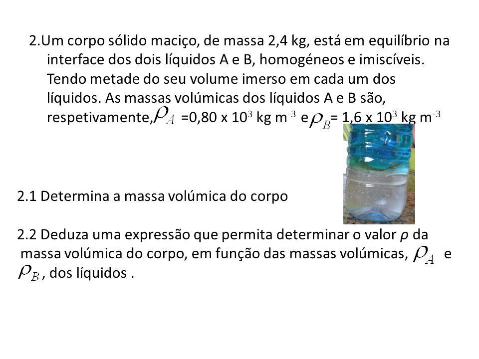 2.Um corpo sólido maciço, de massa 2,4 kg, está em equilíbrio na interface dos dois líquidos A e B, homogéneos e imiscíveis. Tendo metade do seu volum