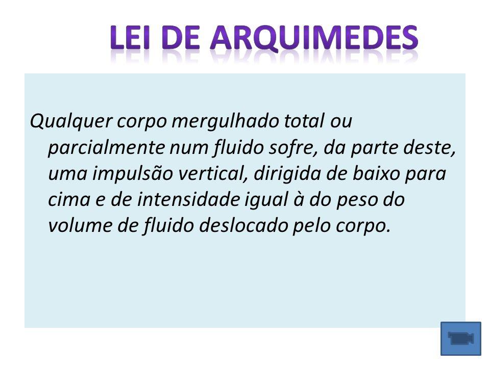 Princípio de Arquimedes O saco está em equilíbrio estático; O fluido exerce sobre o saco uma força para cima denominada Impulsão; A Impulsão é originada pela diferença de pressões ; É numericamente igual ao peso do volume de líquido deslocado.