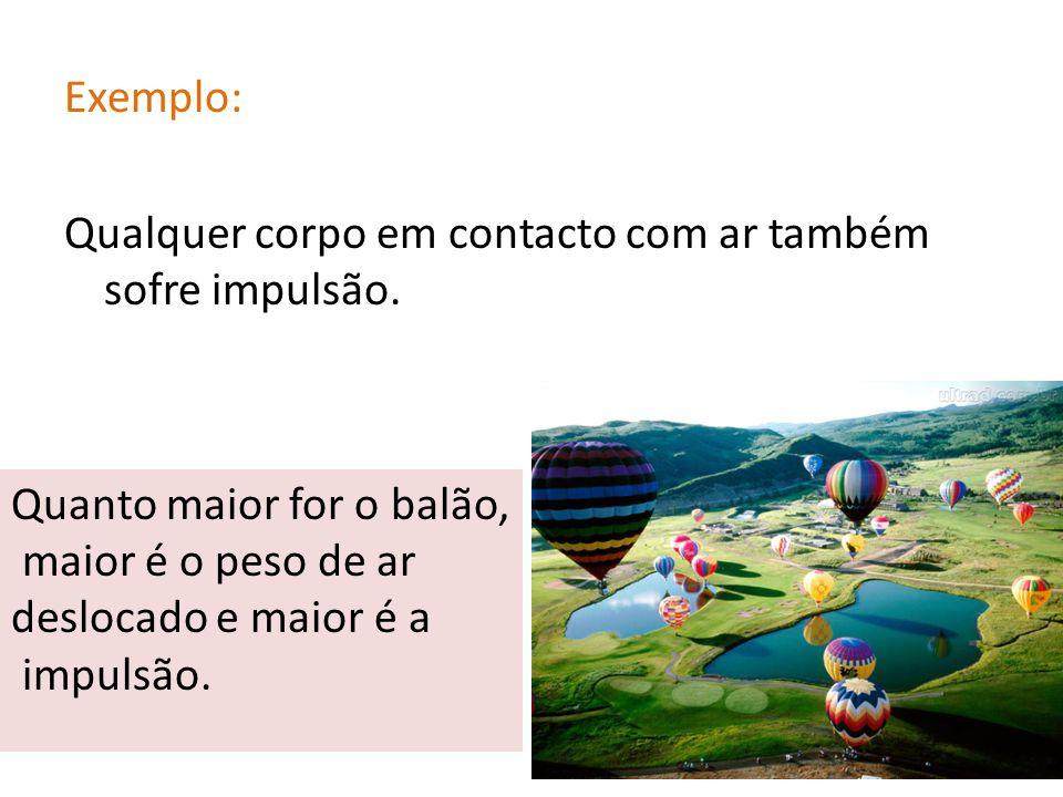 Exemplo: Qualquer corpo em contacto com ar também sofre impulsão. Quanto maior for o balão, maior é o peso de ar deslocado e maior é a impulsão.