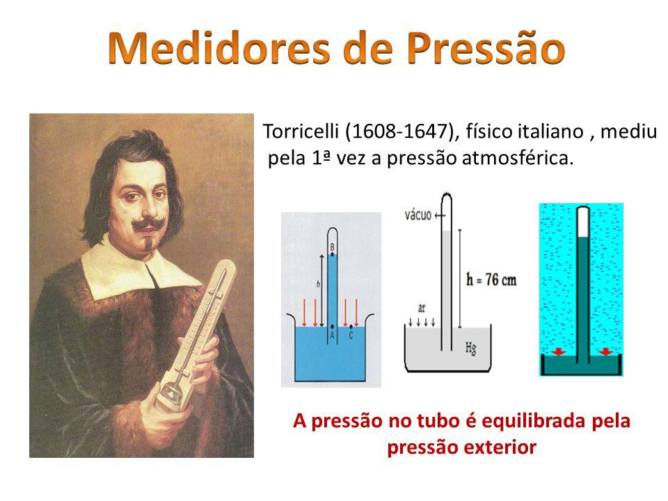 Torricelli (1608-1647), físico italiano, mediu pela 1ª vez a pressão atmosférica. A pressão no tubo é equilibrada pela pressão exterior