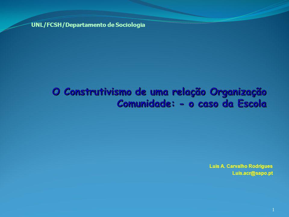 Luís A. Carvalho Rodrigues Luis.acr@sapo.pt 1 UNL/FCSH/Departamento de Sociologia