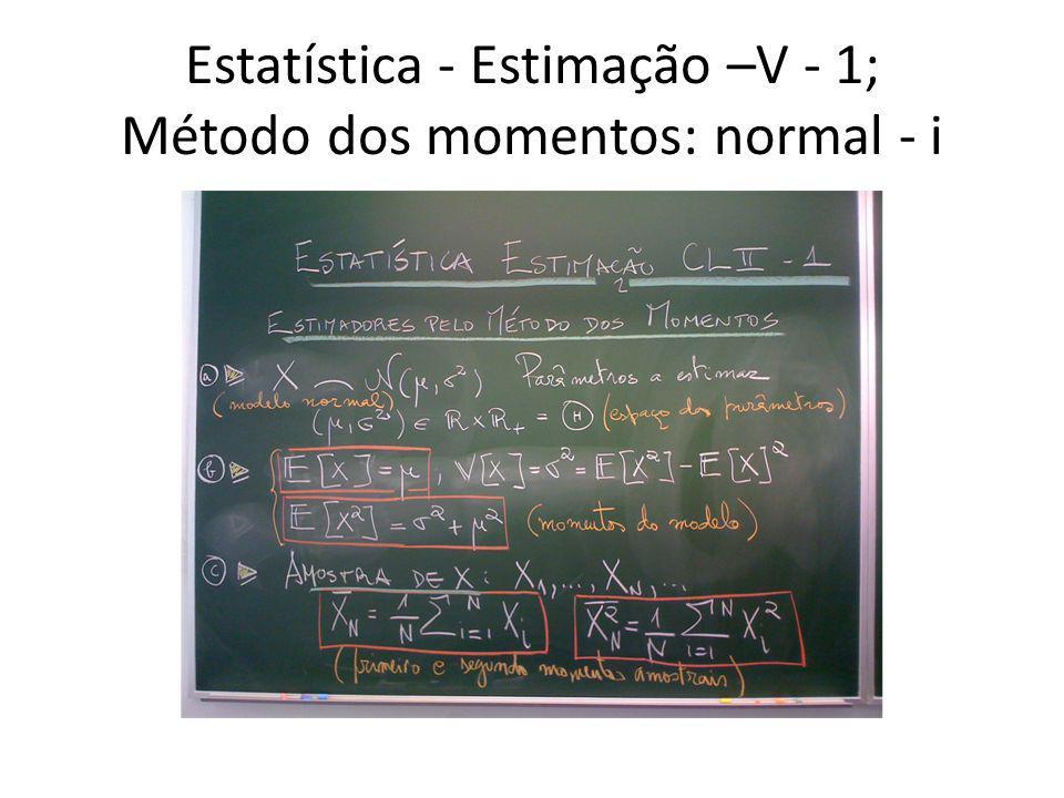 Estatística - Estimação –V - 1; Método dos momentos: normal - i
