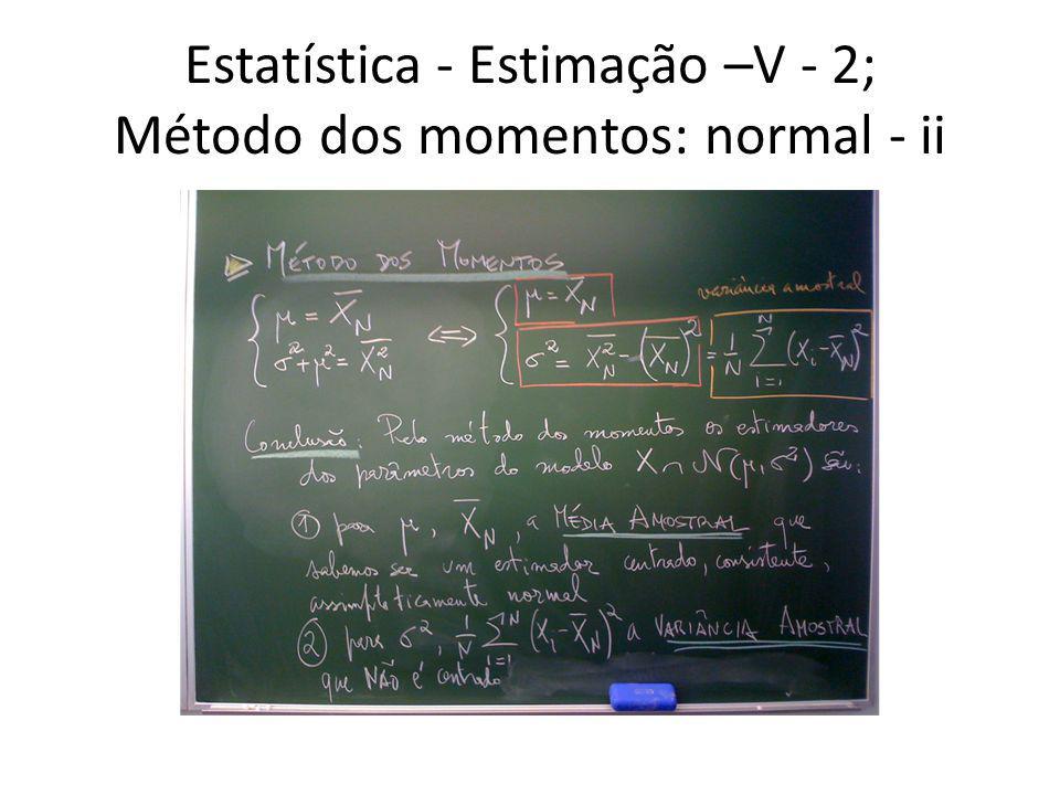 Estatística - Estimação –V - 3; Método dos momentos: binomial - i