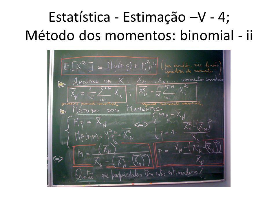 Estatística - Estimação –V - 4; Método dos momentos: binomial - ii