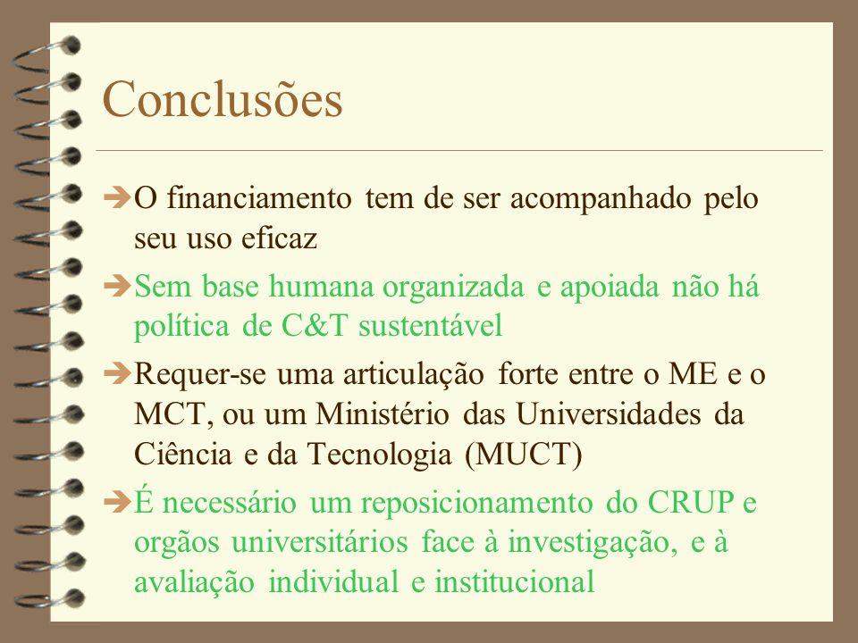 Medidas Ministeriais (3) è ME aumenta quadros de investigadores e técnicos è MCT cria pool central de investigadores e técnicos a afectar aos Centros segundo a sua política è MCT financia de redes temáticas de Centros, para partilha de recursos, estímulo à cooperação, e maior impacto de divulgação