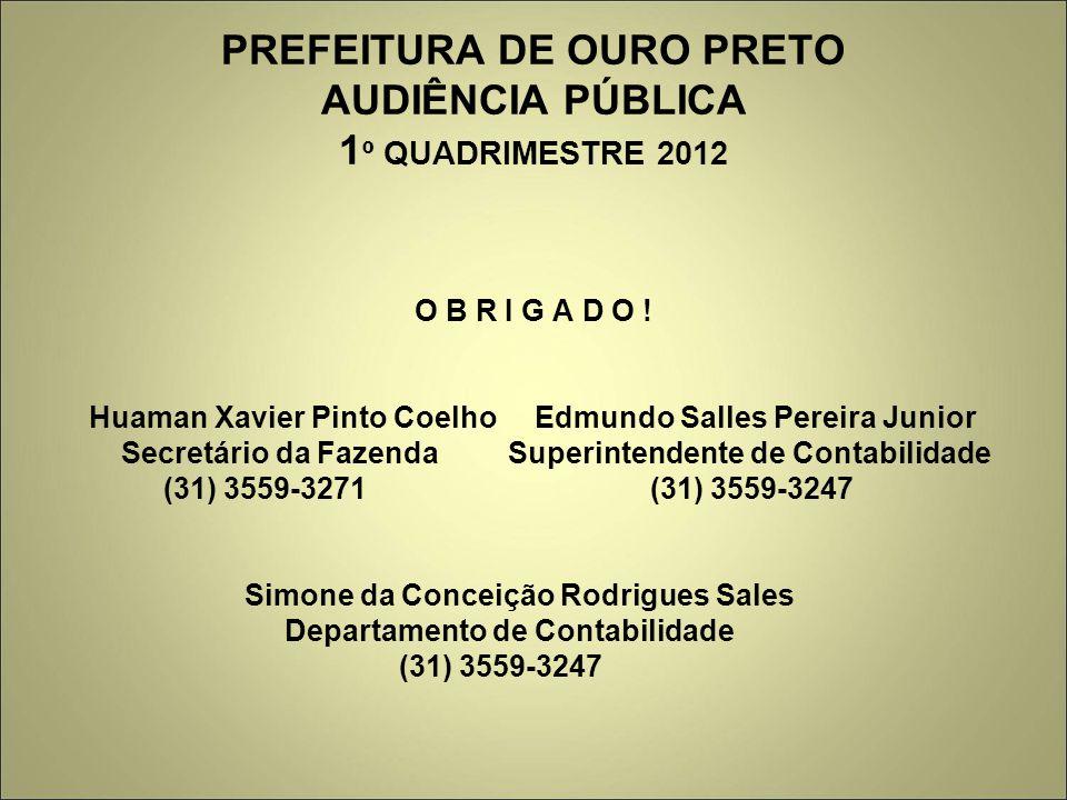 PREFEITURA DE OURO PRETO AUDIÊNCIA PÚBLICA 1 º QUADRIMESTRE 2012 O B R I G A D O .