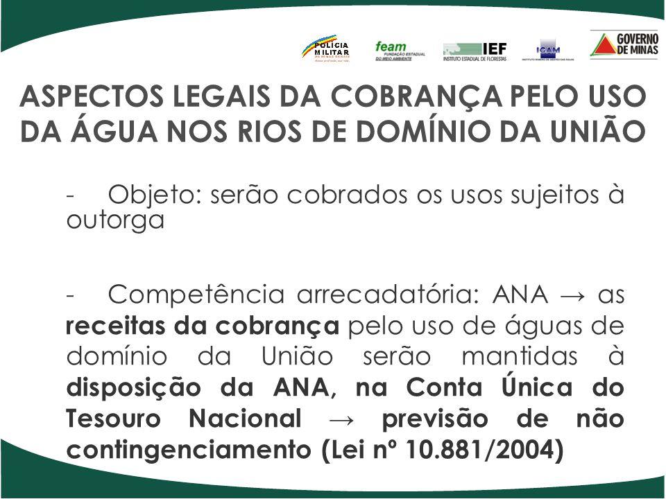 ASPECTOS LEGAIS DA COBRANÇA PELO USO DA ÁGUA NOS RIOS DE DOMÍNIO DA UNIÃO -Objeto: serão cobrados os usos sujeitos à outorga -Competência arrecadatóri