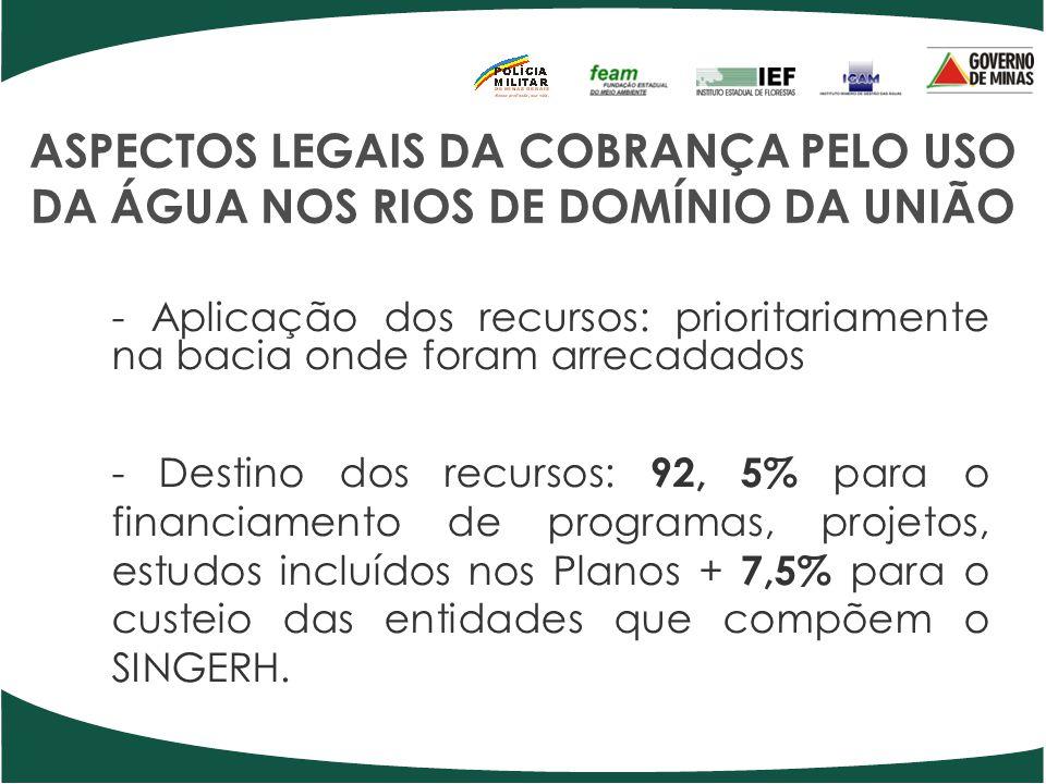 ASPECTOS LEGAIS DA COBRANÇA PELO USO DA ÁGUA NOS RIOS DE DOMÍNIO DA UNIÃO - Aplicação dos recursos: prioritariamente na bacia onde foram arrecadados -