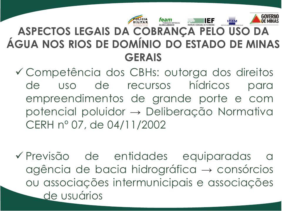 ASPECTOS LEGAIS DA COBRANÇA PELO USO DA ÁGUA NOS RIOS DE DOMÍNIO DO ESTADO DE MINAS GERAIS Competência dos CBHs: outorga dos direitos de uso de recurs