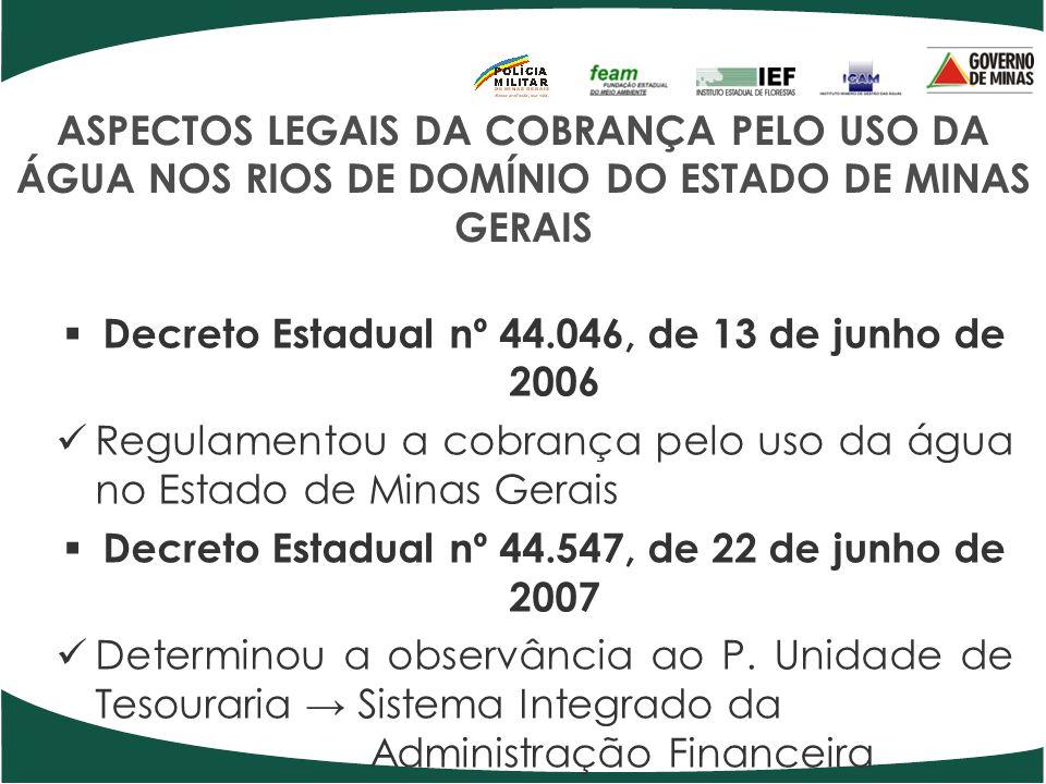 ASPECTOS LEGAIS DA COBRANÇA PELO USO DA ÁGUA NOS RIOS DE DOMÍNIO DO ESTADO DE MINAS GERAIS Decreto Estadual nº 44.046, de 13 de junho de 2006 Regulame
