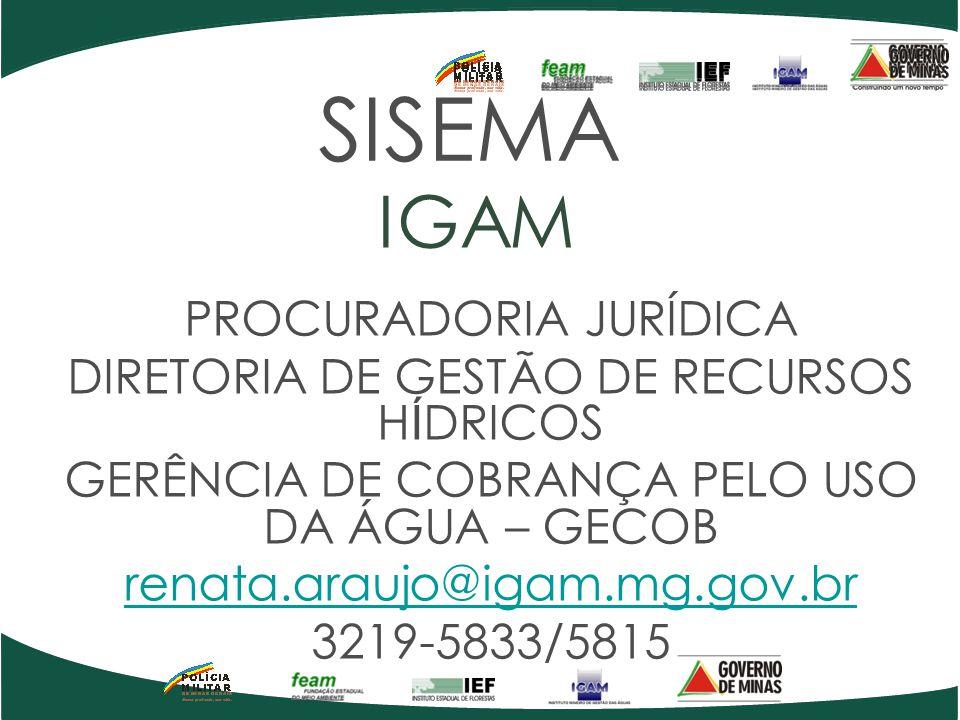 SISEMA IGAM PROCURADORIA JURÍDICA DIRETORIA DE GESTÃO DE RECURSOS H Í DRICOS GERÊNCIA DE COBRANÇA PELO USO DA ÁGUA – GECOB renata.araujo@igam.mg.gov.b