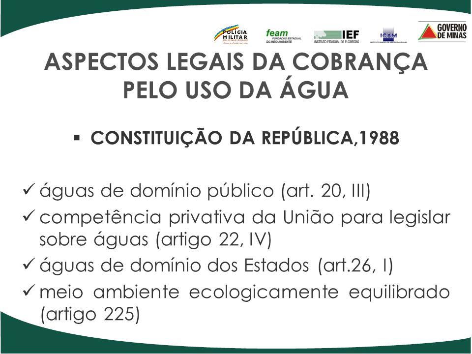 ASPECTOS LEGAIS DA COBRANÇA PELO USO DA ÁGUA CONSTITUIÇÃO DA REPÚBLICA,1988 águas de domínio público (art. 20, III) competência privativa da União par