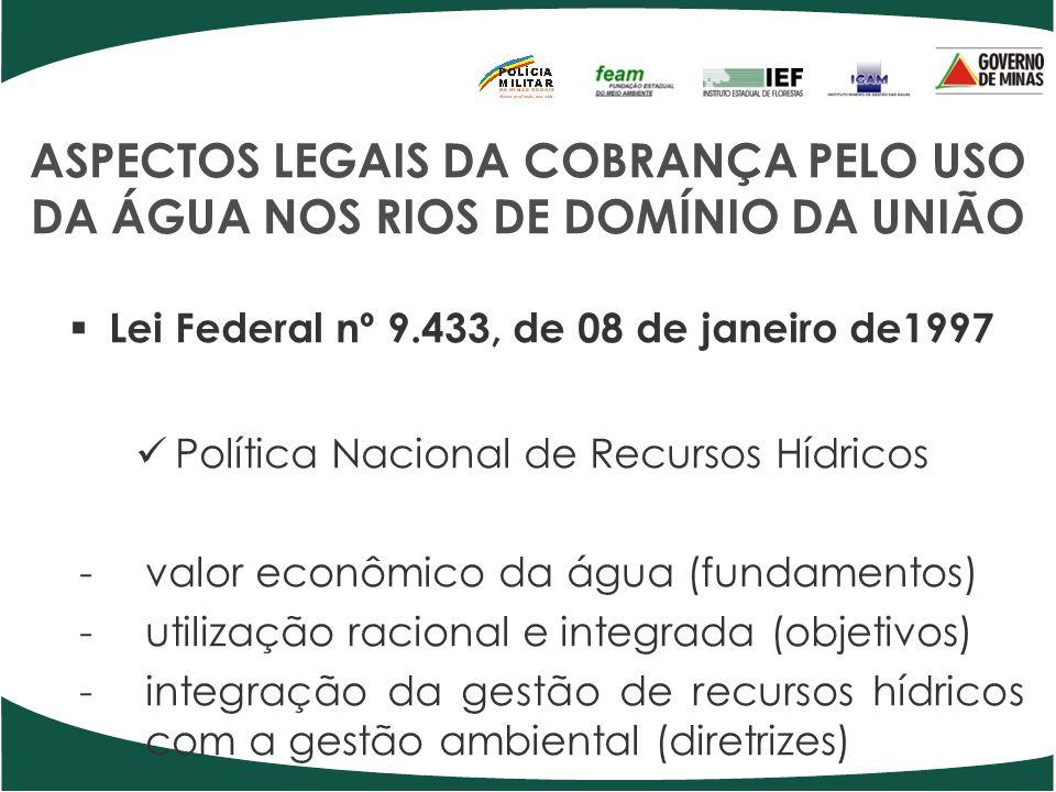 ASPECTOS LEGAIS DA COBRANÇA PELO USO DA ÁGUA NOS RIOS DE DOMÍNIO DA UNIÃO Lei Federal nº 9.433, de 08 de janeiro de1997 Política Nacional de Recursos