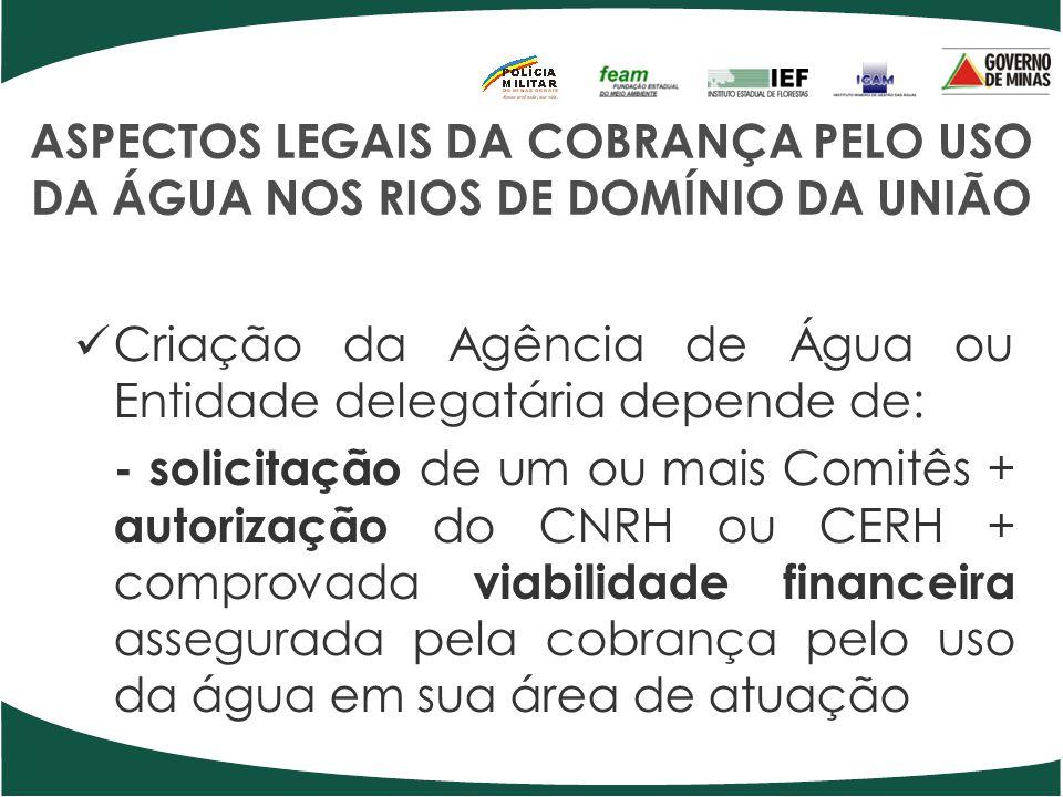 ASPECTOS LEGAIS DA COBRANÇA PELO USO DA ÁGUA NOS RIOS DE DOMÍNIO DA UNIÃO Criação da Agência de Água ou Entidade delegatária depende de: - solicitação
