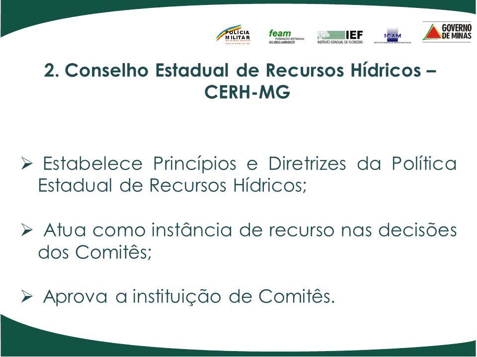 2. Conselho Estadual de Recursos Hídricos – CERH-MG Estabelece Princípios e Diretrizes da Política Estadual de Recursos Hídricos; Atua como instância