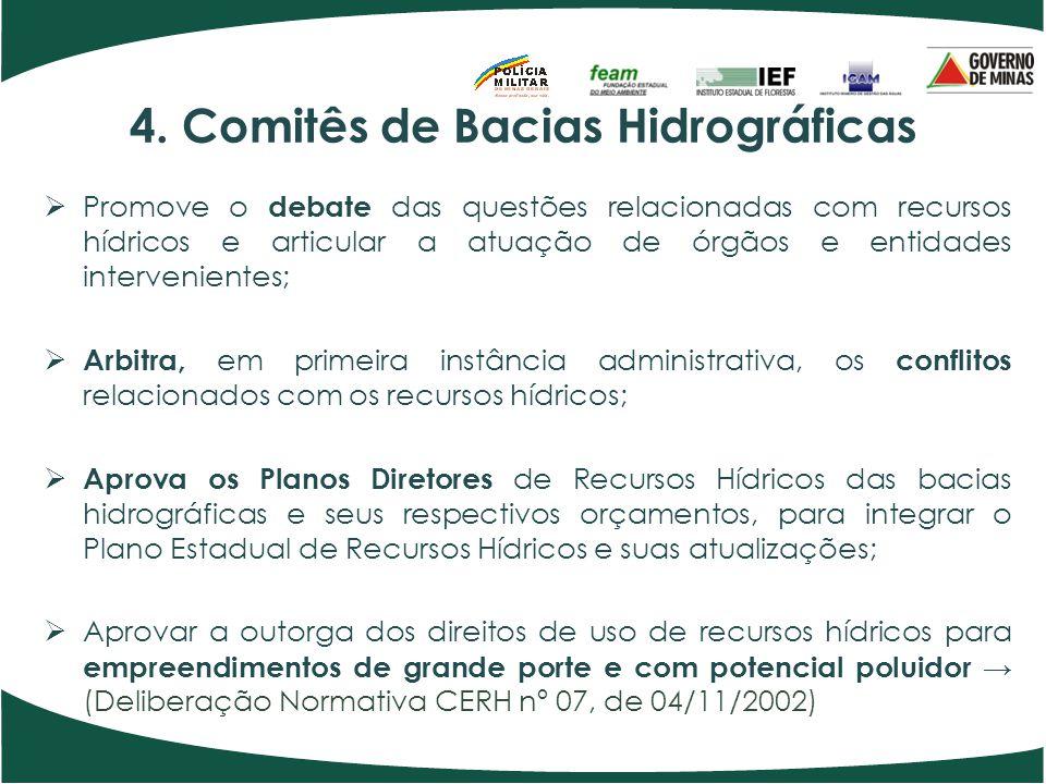4. Comitês de Bacias Hidrográficas Promove o debate das questões relacionadas com recursos hídricos e articular a atuação de órgãos e entidades interv