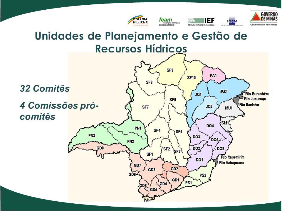 Unidades de Planejamento e Gestão de Recursos Hídricos 32 Comitês 4 Comissões pró- comitês