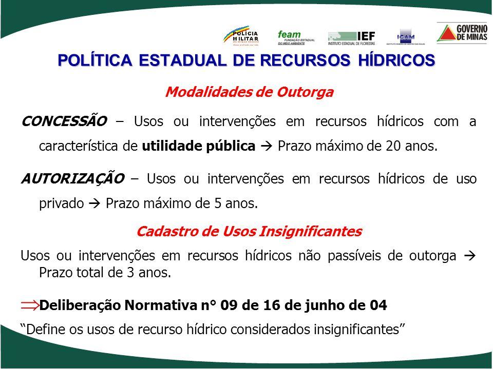 POLÍTICA ESTADUAL DE RECURSOS HÍDRICOS Modalidades de Outorga CONCESSÃO – Usos ou intervenções em recursos hídricos com a característica de utilidade