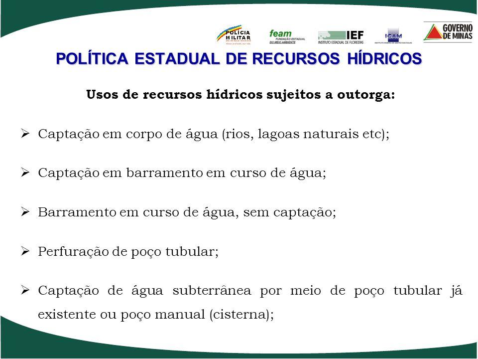 POLÍTICA ESTADUAL DE RECURSOS HÍDRICOS Usos de recursos hídricos sujeitos a outorga: Captação em corpo de água (rios, lagoas naturais etc); Captação e