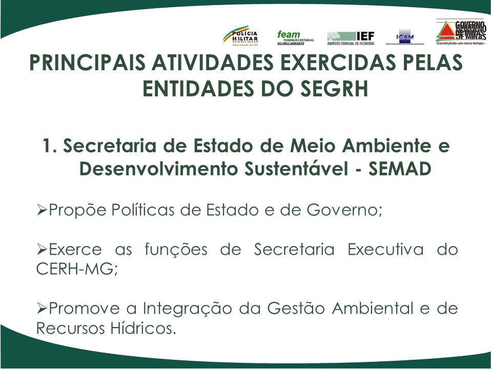 PRINCIPAIS ATIVIDADES EXERCIDAS PELAS ENTIDADES DO SEGRH 1. Secretaria de Estado de Meio Ambiente e Desenvolvimento Sustentável - SEMAD Propõe Polític