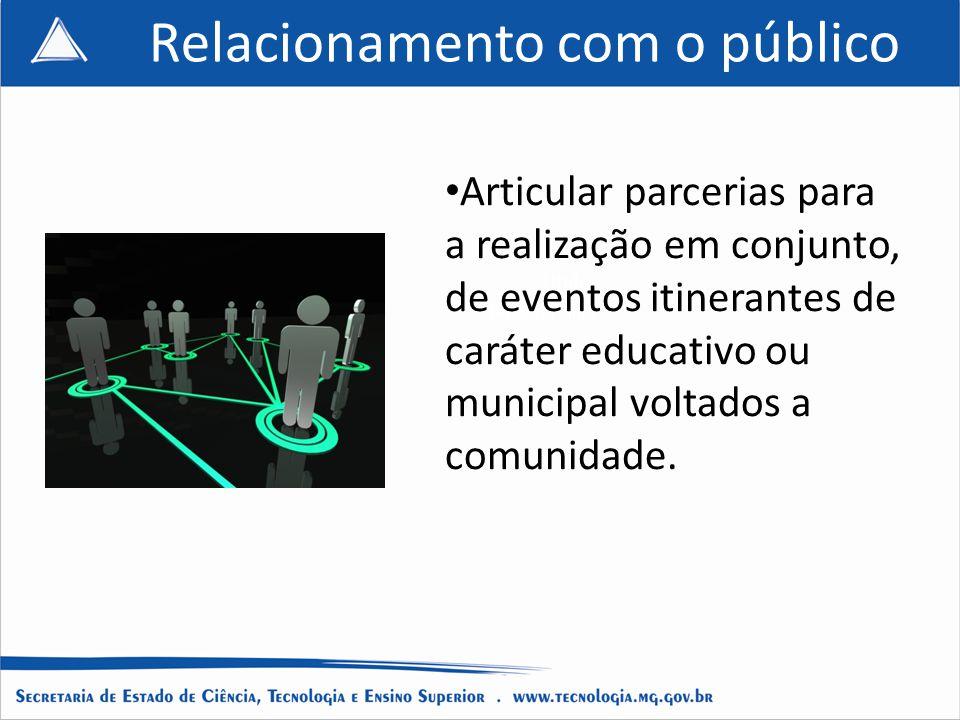 Título do projeto Título do Slide Titulo Titulo da apresentação Relacionamento com o público Articular parcerias para a realização em conjunto, de eventos itinerantes de caráter educativo ou municipal voltados a comunidade.