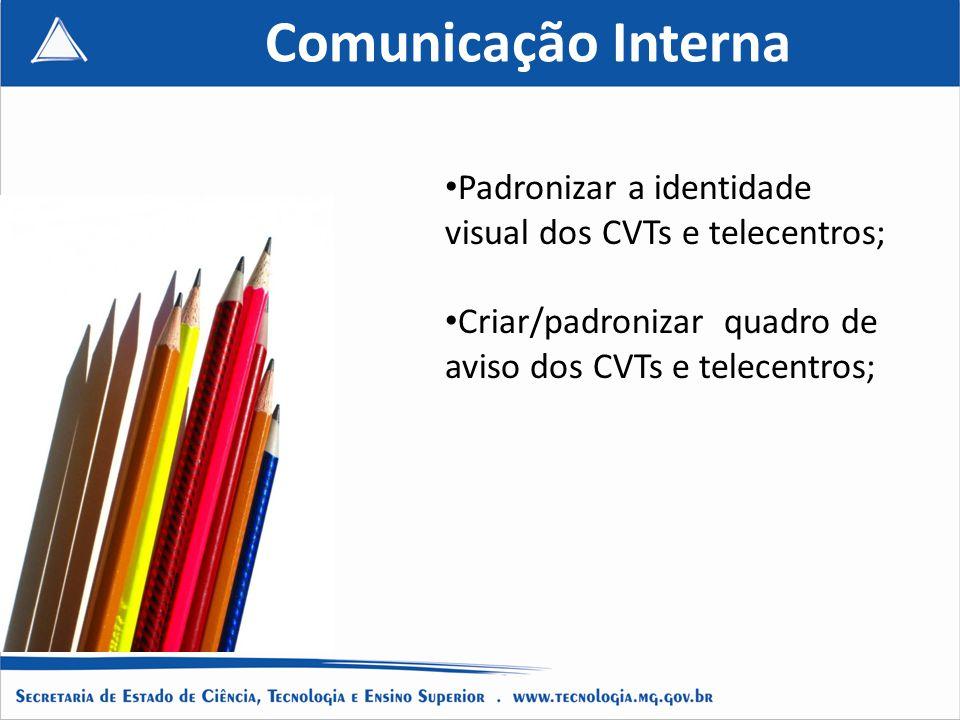 Comunicação Interna Padronizar a identidade visual dos CVTs e telecentros; Criar/padronizar quadro de aviso dos CVTs e telecentros;