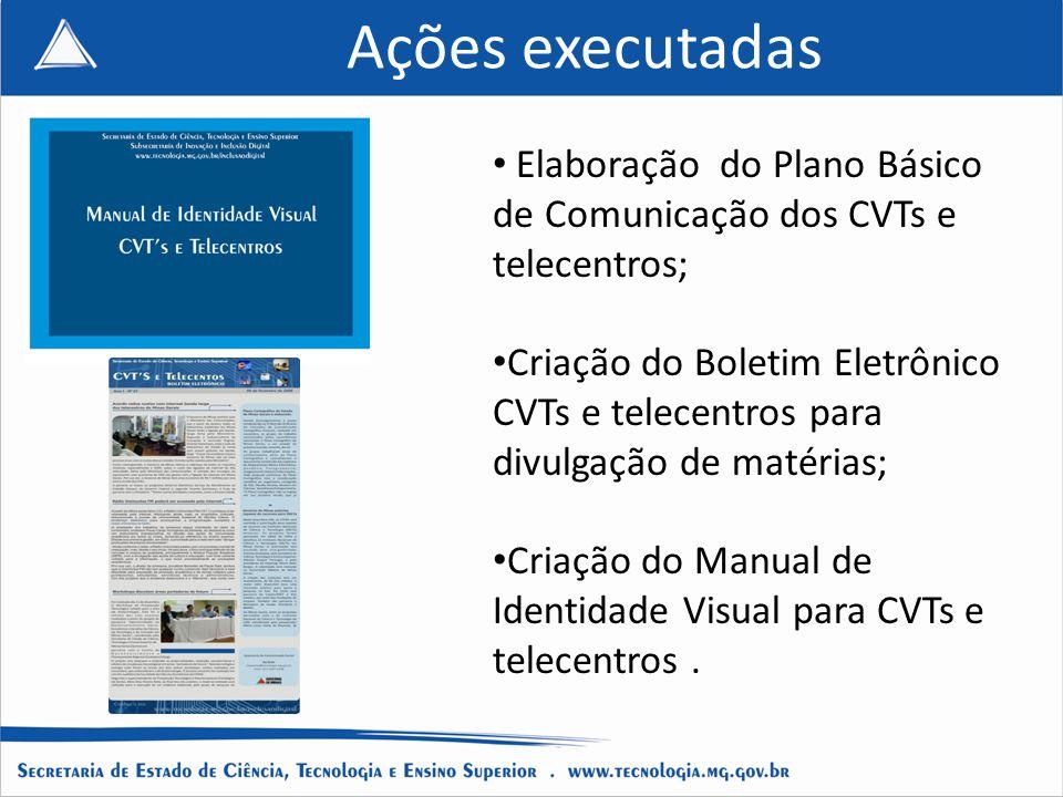 Ações executadas Elaboração do Plano Básico de Comunicação dos CVTs e telecentros; Criação do Boletim Eletrônico CVTs e telecentros para divulgação de matérias; Criação do Manual de Identidade Visual para CVTs e telecentros.